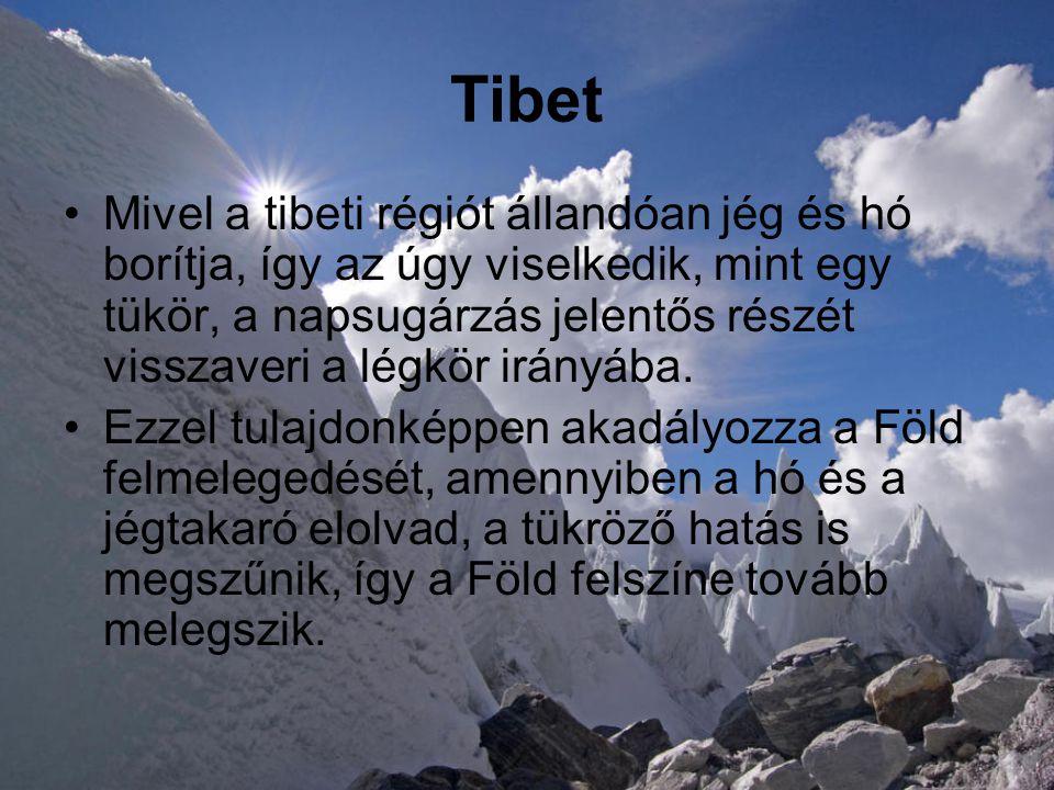 Tibet •Mivel a tibeti régiót állandóan jég és hó borítja, így az úgy viselkedik, mint egy tükör, a napsugárzás jelentős részét visszaveri a légkör irányába.
