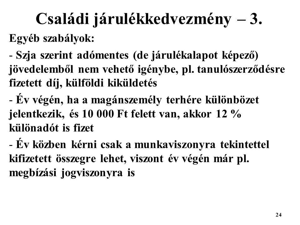 24 Családi járulékkedvezmény – 3.