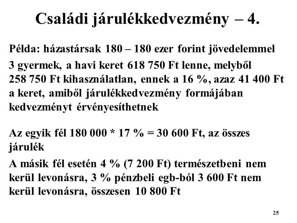 25 Családi járulékkedvezmény – 4.