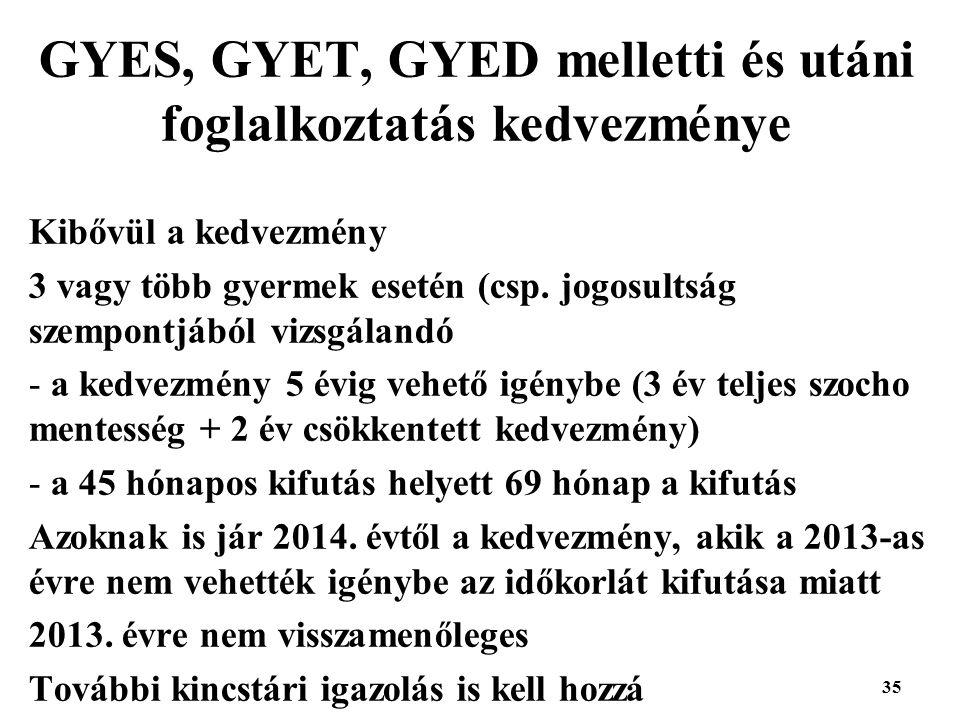 35 GYES, GYET, GYED melletti és utáni foglalkoztatás kedvezménye Kibővül a kedvezmény 3 vagy több gyermek esetén (csp.