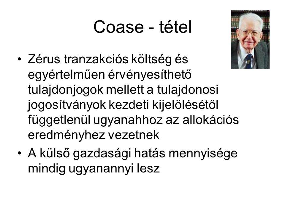 Coase - tétel •Zérus tranzakciós költség és egyértelműen érvényesíthető tulajdonjogok mellett a tulajdonosi jogosítványok kezdeti kijelölésétől függet