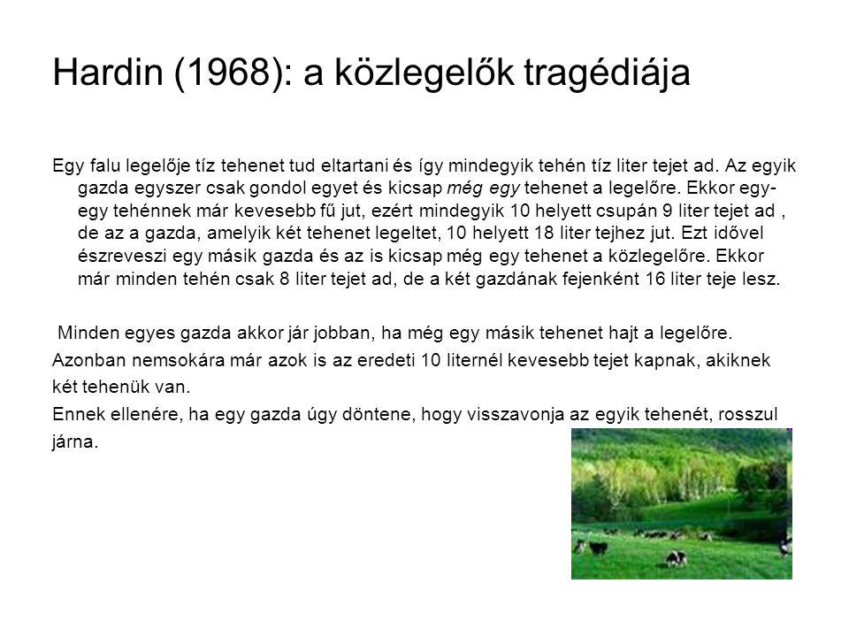 Hardin (1968): a közlegelők tragédiája Egy falu legelője tíz tehenet tud eltartani és így mindegyik tehén tíz liter tejet ad. Az egyik gazda egyszer c