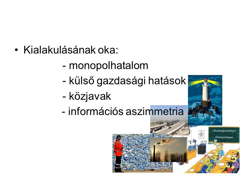 •Kialakulásának oka: - monopolhatalom - külső gazdasági hatások - közjavak - információs aszimmetria