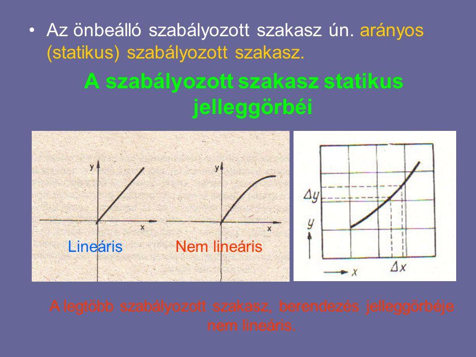 A szabályozott szakasz dinamikus tulajdonságai  A szakasz dinamikus tulajdonságait a szakasz kimenő és bemenőjelének időbeli változásai közti összefüggés határozza meg.
