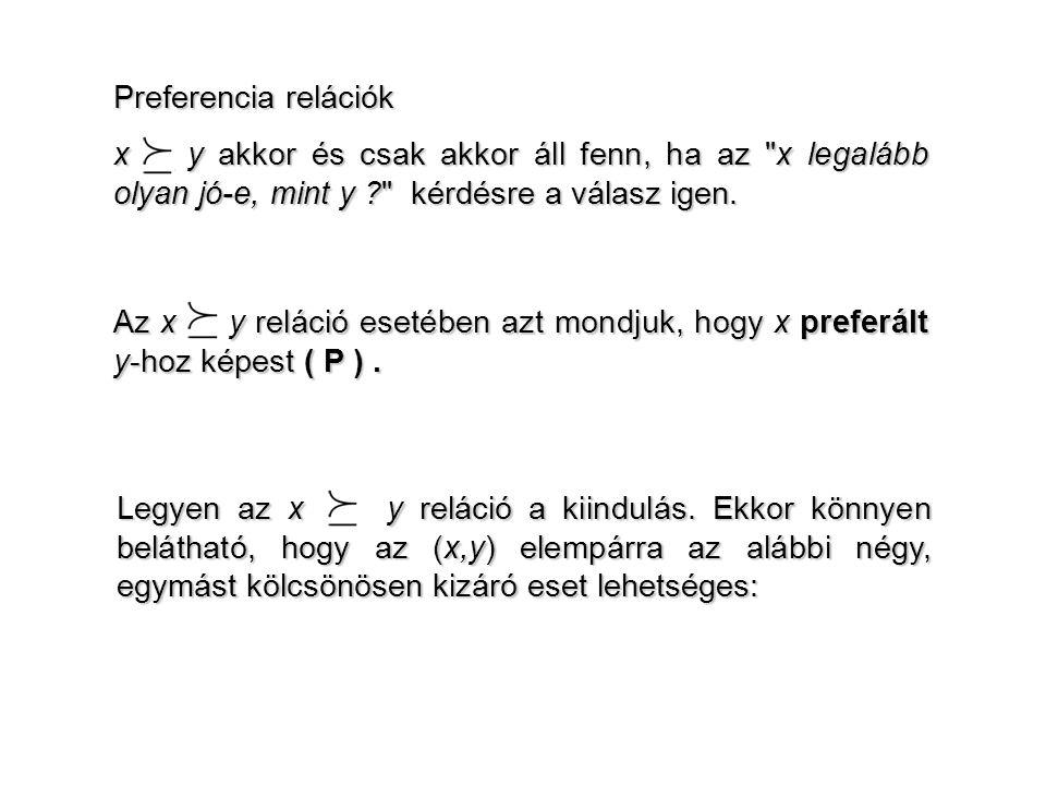 Preferencia relációk x y akkor és csak akkor áll fenn, ha az