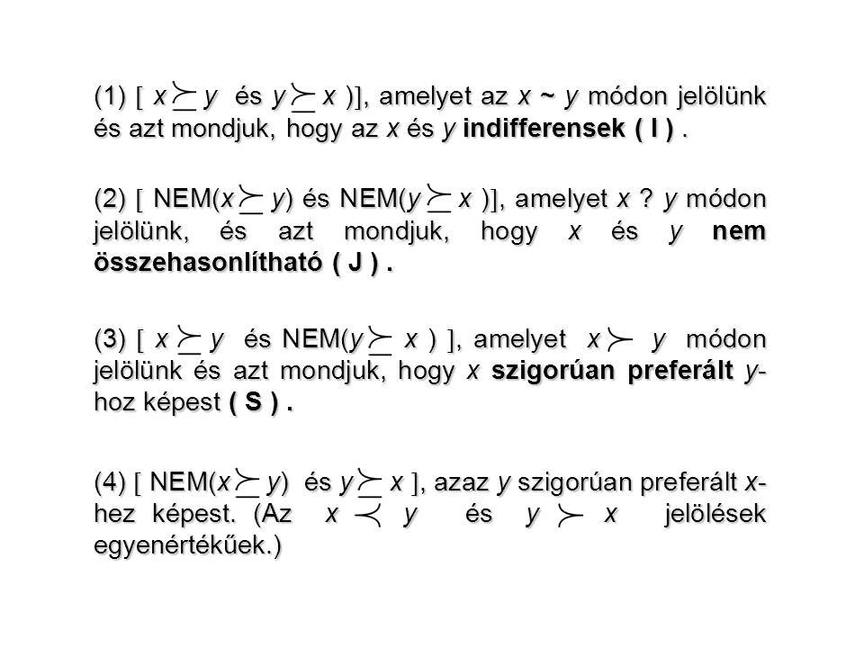 (1)  x R y és y R x ) , amelyet az x ~ y módon jelölünk és azt mondjuk, hogy az x és y indifferensek ( I ). (2)  NEM(x R y) és NEM(y R x ) , amely