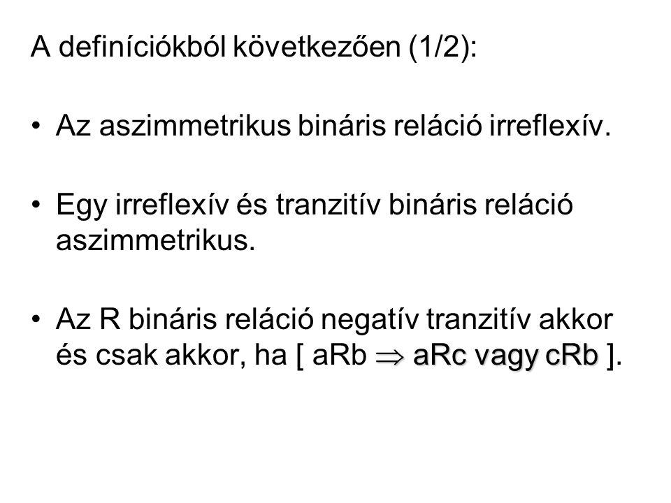 A definíciókból következően (1/2): •Az aszimmetrikus bináris reláció irreflexív. •Egy irreflexív és tranzitív bináris reláció aszimmetrikus.  aRc vag