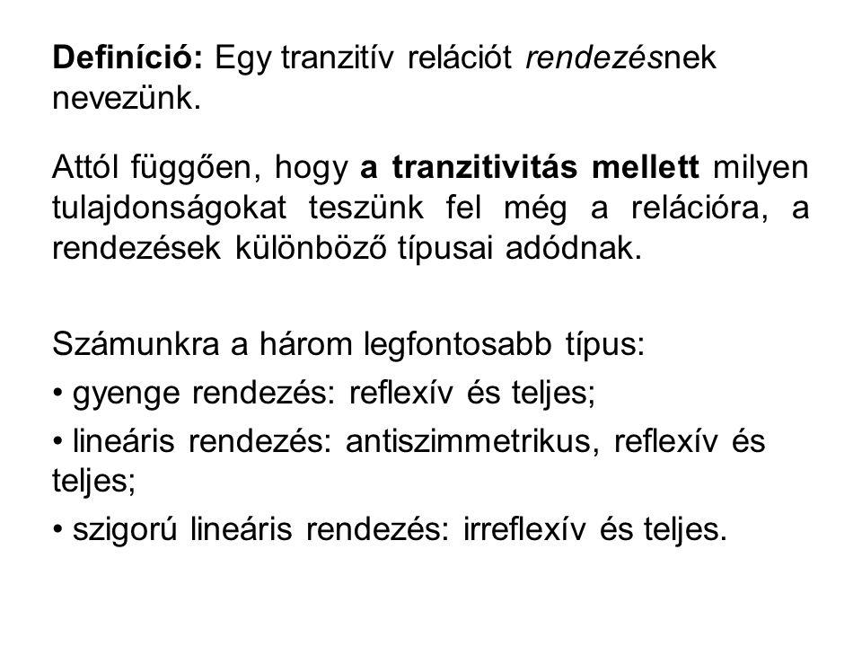 Definíció: Egy tranzitív relációt rendezésnek nevezünk. Attól függően, hogy a tranzitivitás mellett milyen tulajdonságokat teszünk fel még a relációra