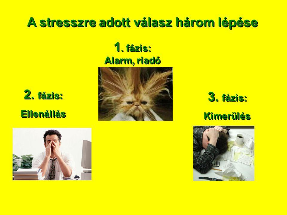 A stresszre adott válasz három lépése 1. fázis: Alarm, riadó 2. fázis: Ellenállás 2. fázis: Ellenállás 3. fázis: Kimerülés 3. fázis: Kimerülés
