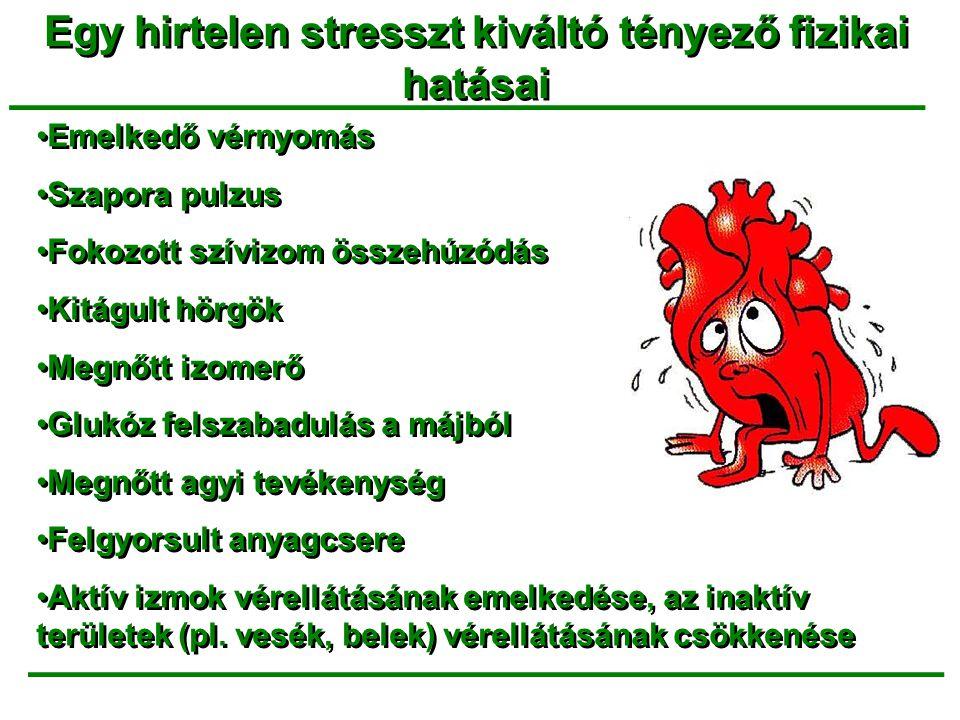 Egy hirtelen stresszt kiváltó tényező fizikai hatásai _______________________________ •Emelkedő vérnyomás •Szapora pulzus •Fokozott szívizom összehúzó