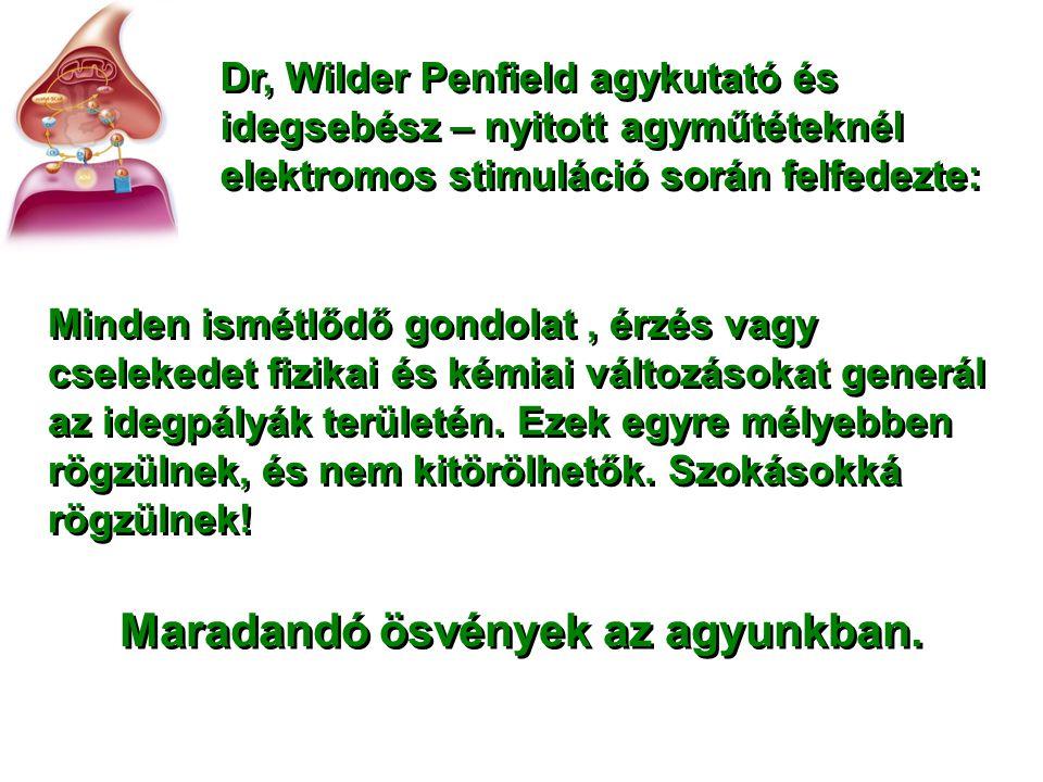Dr, Wilder Penfield agykutató és idegsebész – nyitott agyműtéteknél elektromos stimuláció során felfedezte: Minden ismétlődő gondolat, érzés vagy csel