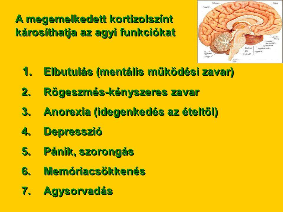 A megemelkedett kortizolszínt károsíthatja az agyi funkciókat 1.Elbutulás (mentális működési zavar) 2.Rögeszmés-kényszeres zavar 3.Anorexia (idegenked