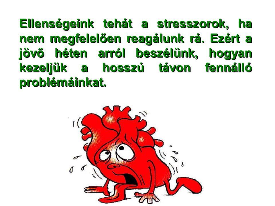 Ellenségeink tehát a stresszorok, ha nem megfelelően reagálunk rá. Ezért a jövő héten arról beszélünk, hogyan kezeljük a hosszú távon fennálló problém