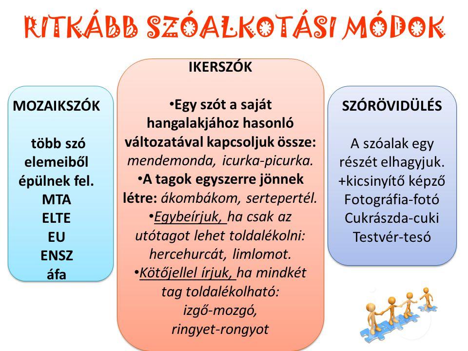 RITKÁBB SZÓALKOTÁSI MÓDOK MOZAIKSZÓK több szó elemeiből épülnek fel. MTA ELTE EU ENSZ áfa IKERSZÓK • Egy szót a saját hangalakjához hasonló változatáv