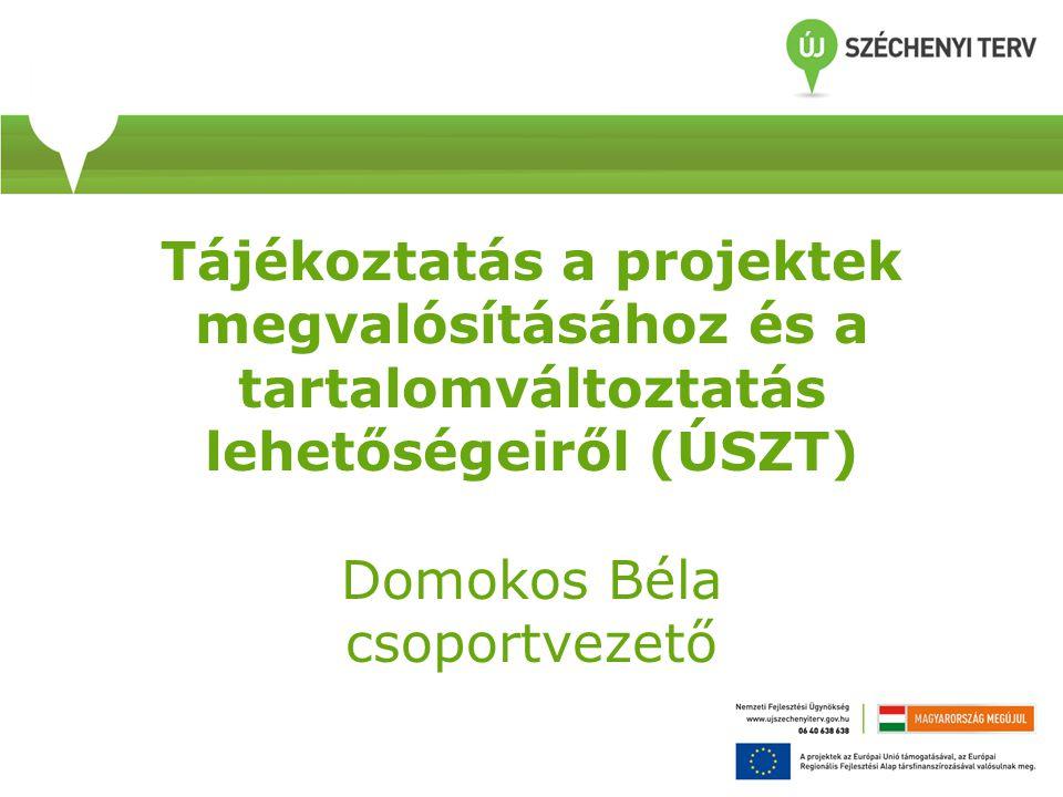Tájékoztatás a projektek megvalósításához és a tartalomváltoztatás lehetőségeiről (ÚSZT) Domokos Béla csoportvezető