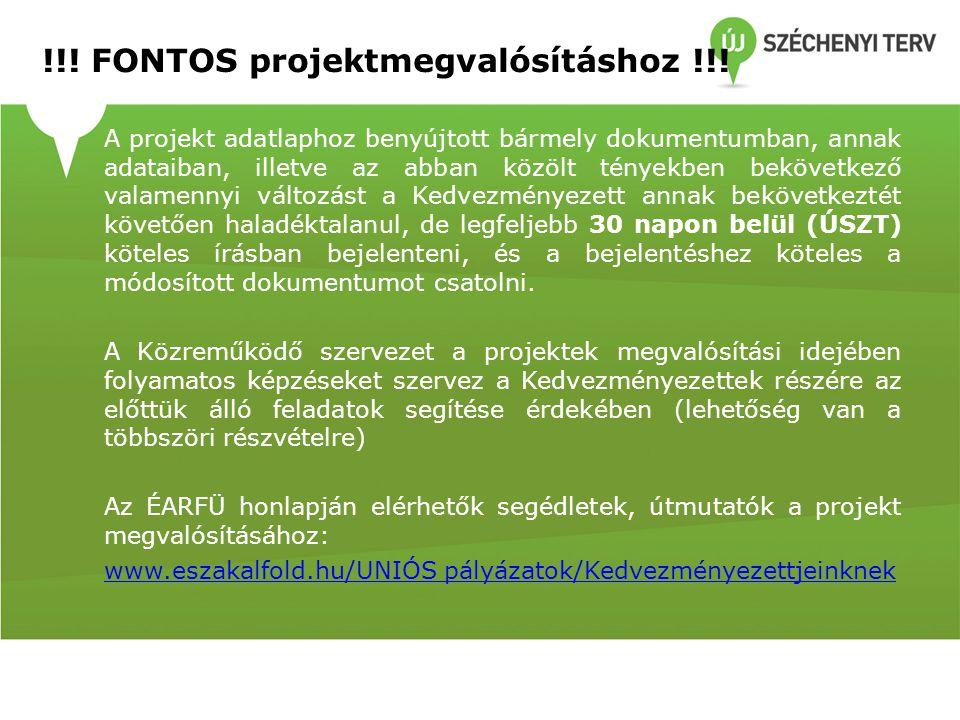 !!! FONTOS projektmegvalósításhoz !!! A projekt adatlaphoz benyújtott bármely dokumentumban, annak adataiban, illetve az abban közölt tényekben beköve