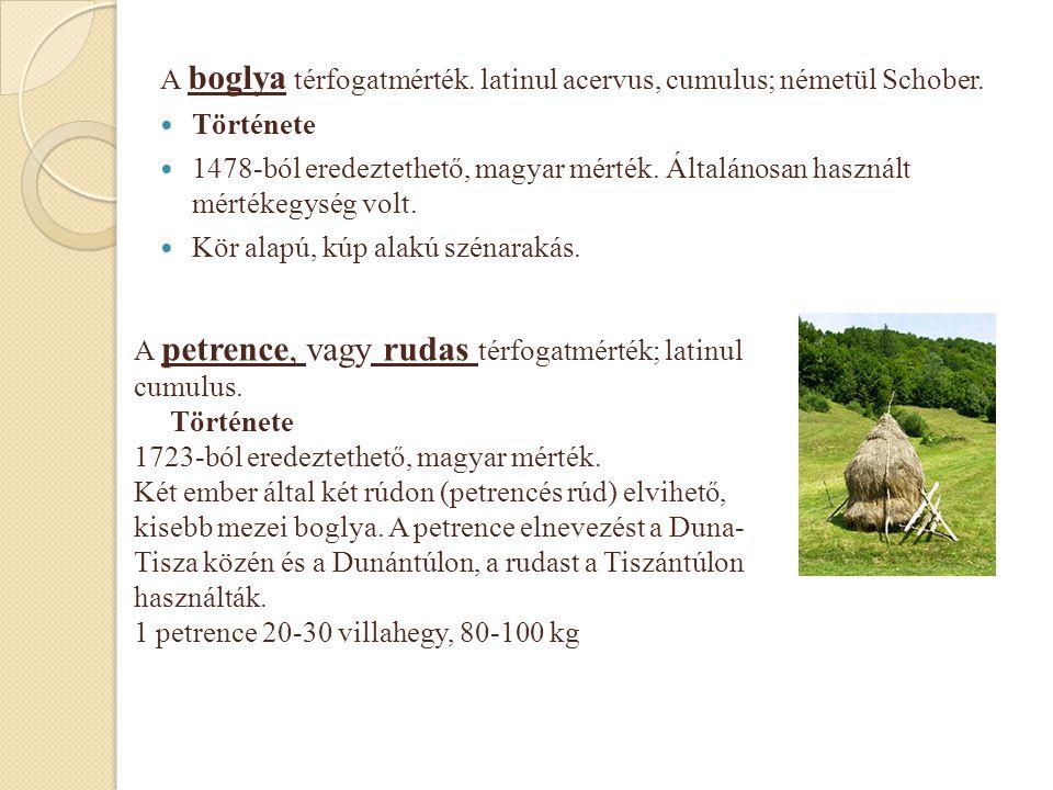 A boglya térfogatmérték. latinul acervus, cumulus; németül Schober.  Története  1478-ból eredeztethető, magyar mérték. Általánosan használt mértékeg