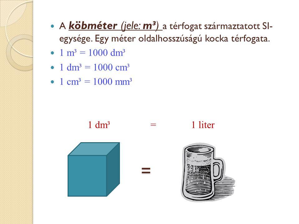 =  A köbméter (jele: m³) a térfogat származtatott SI- egysége. Egy méter oldalhosszúságú kocka térfogata.  1 m³ = 1000 dm³  1 dm³ = 1000 cm³  1 cm