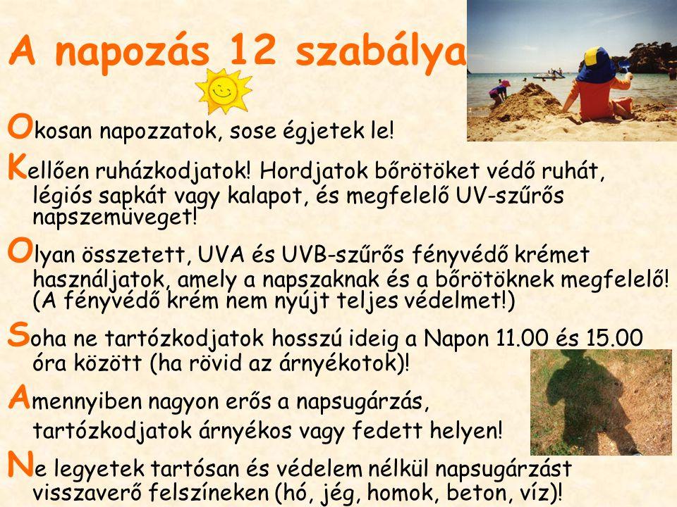 A napozás 12 szabálya O kosan napozzatok, sose égjetek le.