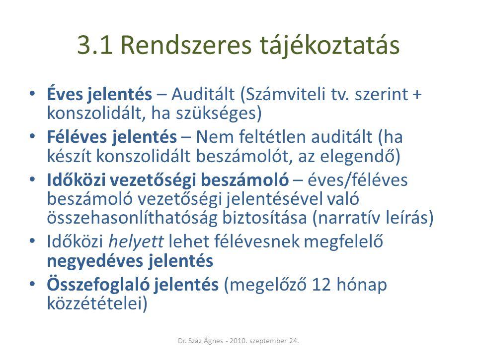 3.1 Rendszeres tájékoztatás • Éves jelentés – Auditált (Számviteli tv.
