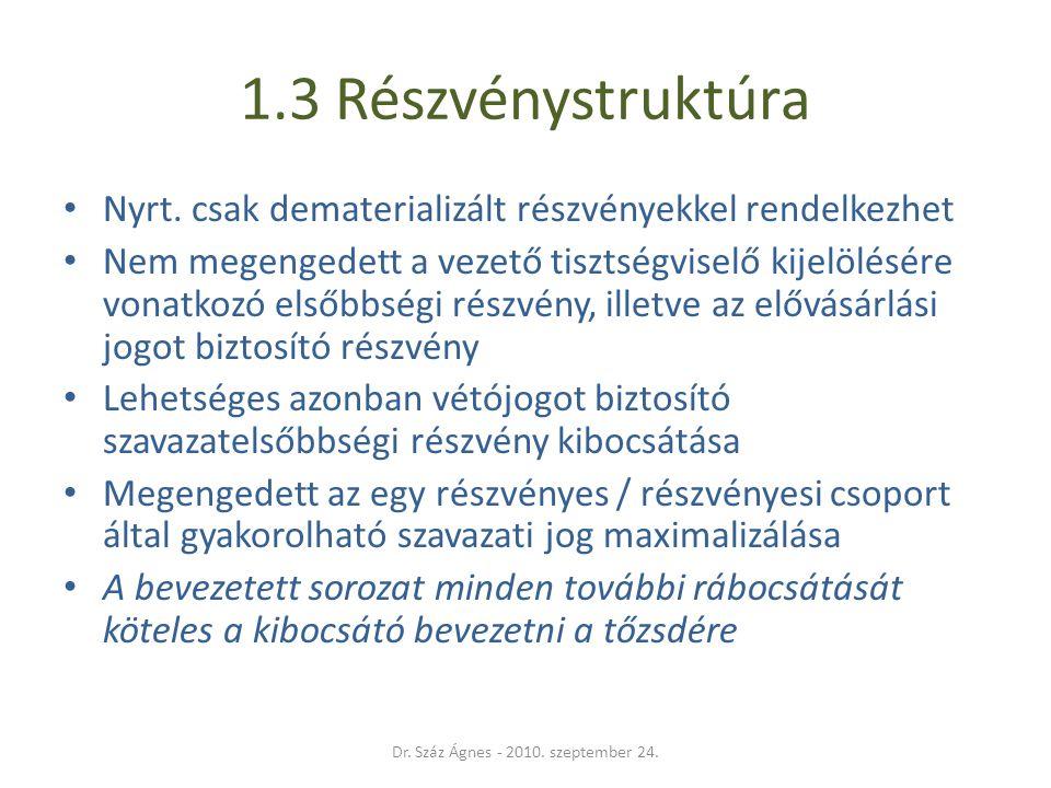 1.3 Részvénystruktúra • Nyrt.