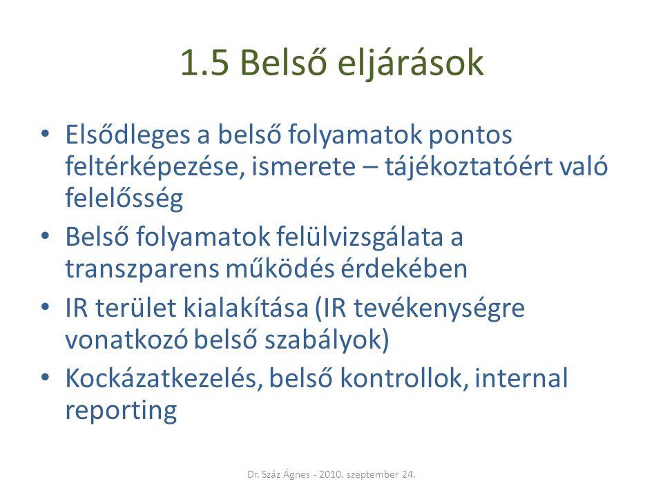 1.5 Belső eljárások • Elsődleges a belső folyamatok pontos feltérképezése, ismerete – tájékoztatóért való felelősség • Belső folyamatok felülvizsgálat
