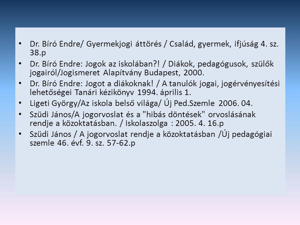 • Dr. Bíró Endre/ Gyermekjogi áttörés / Család, gyermek, ifjúság 4. sz. 38.p • Dr. Bíró Endre: Jogok az iskolában?! / Diákok, pedagógusok, szülők joga