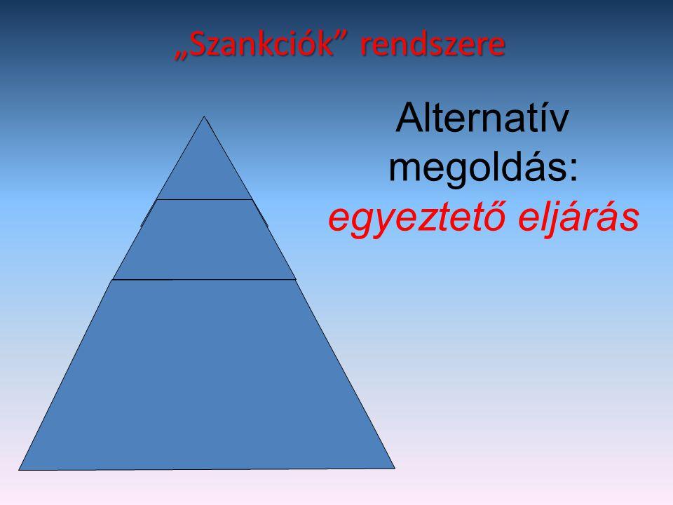 """""""Szankciók"""" rendszere Pedagógiai eszközök Fegyelmező intézkedés Fegyelmi büntetés Alternatív megoldás: egyeztető eljárás"""