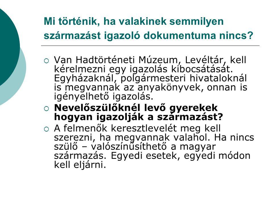 Ha valakinek már folyamatban a letelepedése  Ha valakinek már folyamatban a letelepedése és az eljáráshoz már benyújtotta a felmenői egykori magyar állampolgárságát igazoló anyakönyvi kivonatokat, ezeket fel lehet használni ebben az eljárásban.