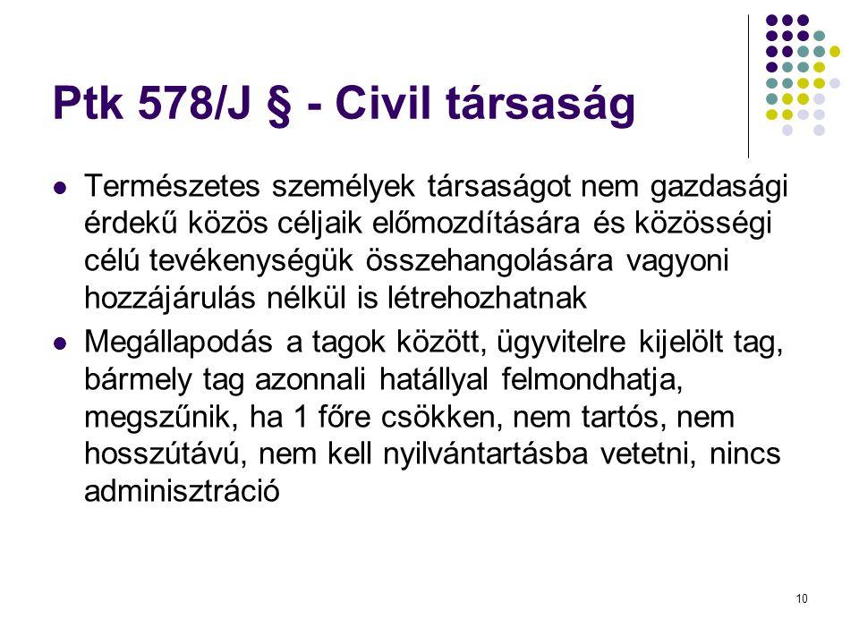 10 Ptk 578/J § - Civil társaság  Természetes személyek társaságot nem gazdasági érdekű közös céljaik előmozdítására és közösségi célú tevékenységük ö
