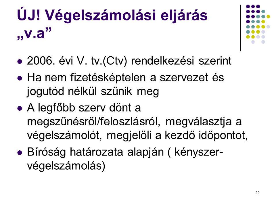 """ÚJ! Végelszámolási eljárás """"v.a""""  2006. évi V. tv.(Ctv) rendelkezési szerint  Ha nem fizetésképtelen a szervezet és jogutód nélkül szűnik meg  A le"""