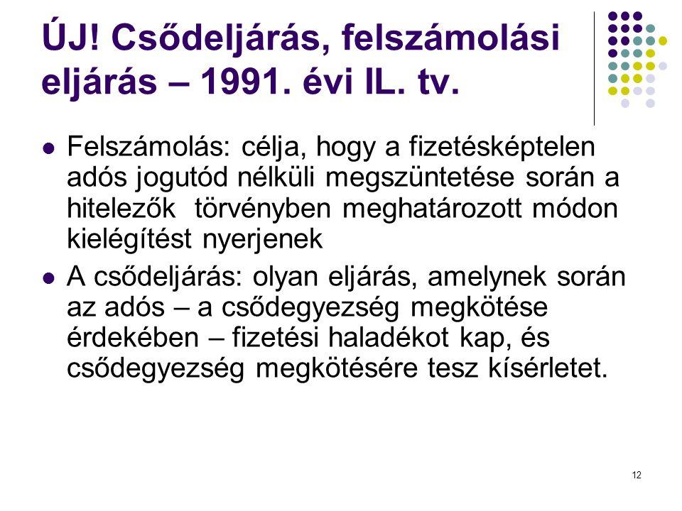ÚJ! Csődeljárás, felszámolási eljárás – 1991. évi IL. tv.  Felszámolás: célja, hogy a fizetésképtelen adós jogutód nélküli megszüntetése során a hite