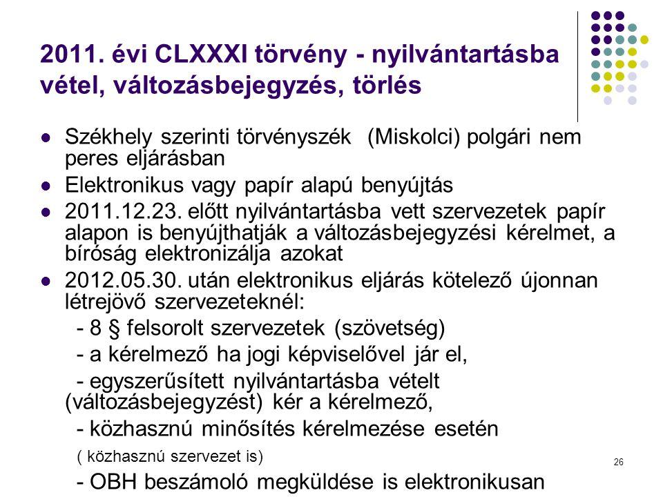 26 2011. évi CLXXXI törvény - nyilvántartásba vétel, változásbejegyzés, törlés  Székhely szerinti törvényszék (Miskolci) polgári nem peres eljárásban