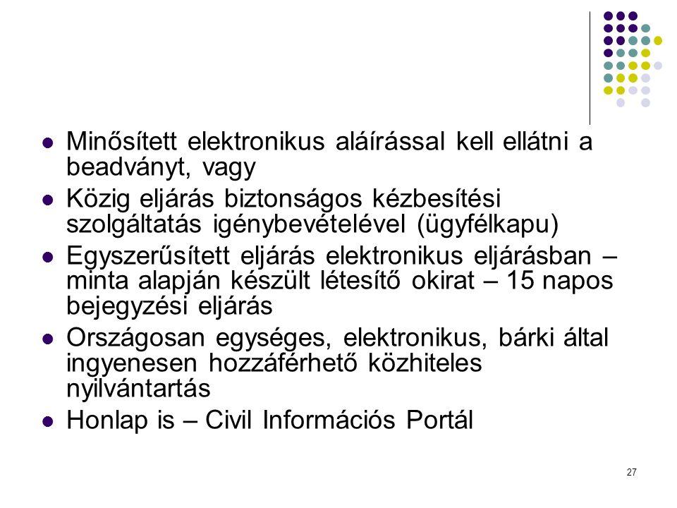  Minősített elektronikus aláírással kell ellátni a beadványt, vagy  Közig eljárás biztonságos kézbesítési szolgáltatás igénybevételével (ügyfélkapu)