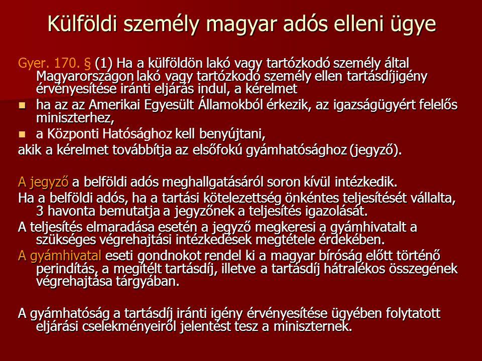 Külföldi személy magyar adós elleni ügye (1) Ha a külföldön lakó vagy tartózkodó személy által Magyarországon lakó vagy tartózkodó személy ellen tartá