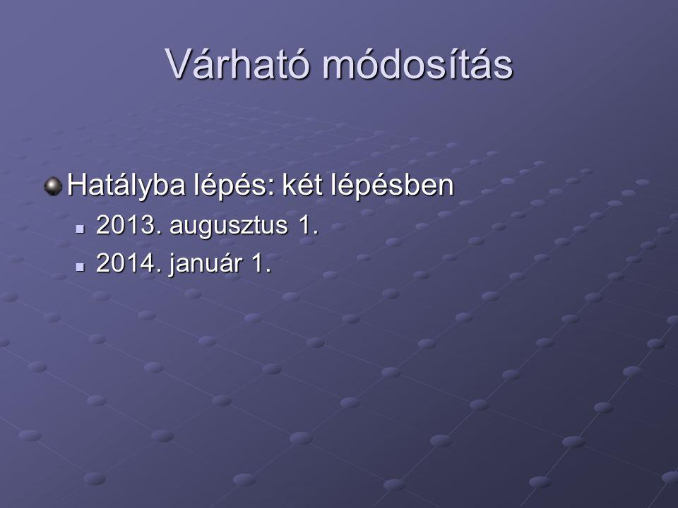 Várható módosítás Hatályba lépés: két lépésben  2013. augusztus 1.  2014. január 1.