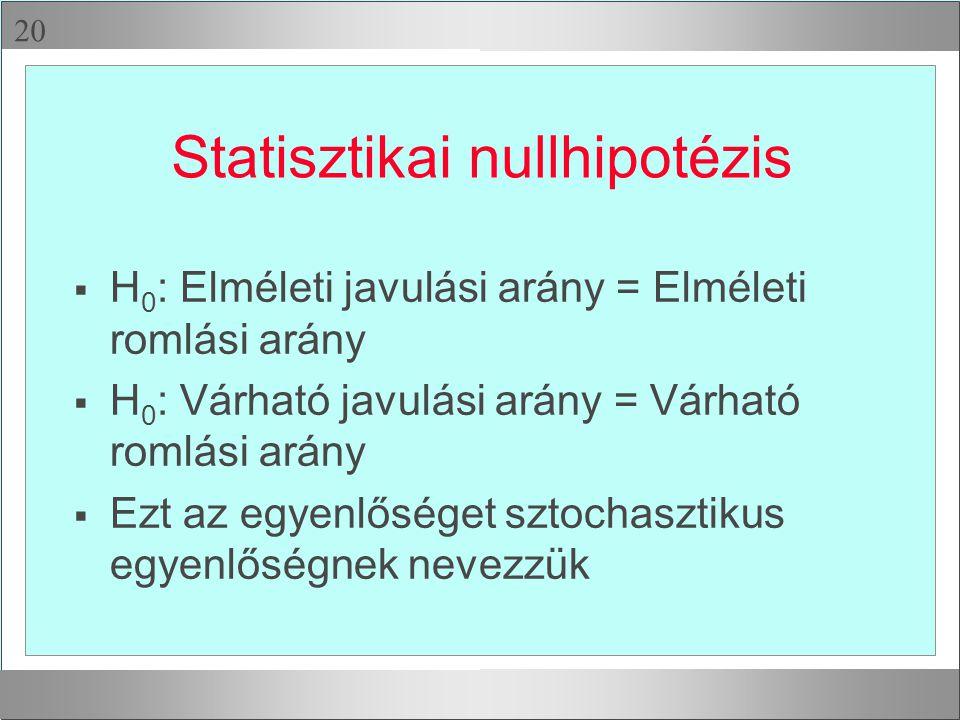  Statisztikai nullhipotézis  H 0 : Elméleti javulási arány = Elméleti romlási arány  H 0 : Várható javulási arány = Várható romlási arány  Ezt az egyenlőséget sztochasztikus egyenlőségnek nevezzük