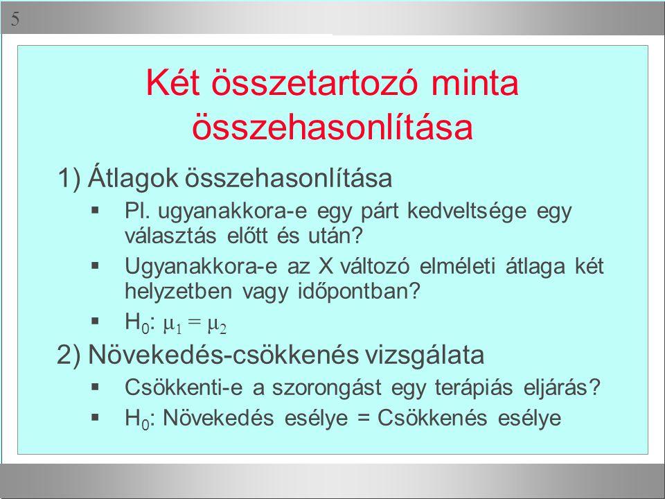  Két összetartozó minta összehasonlítása 1) Átlagok összehasonlítása  Pl.