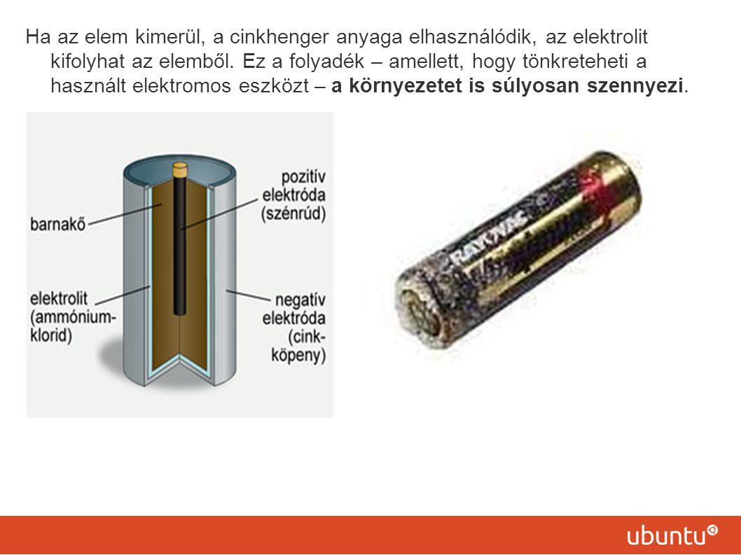 Ha az elem kimerül, a cinkhenger anyaga elhasználódik, az elektrolit kifolyhat az elemből. Ez a folyadék – amellett, hogy tönkreteheti a használt elek
