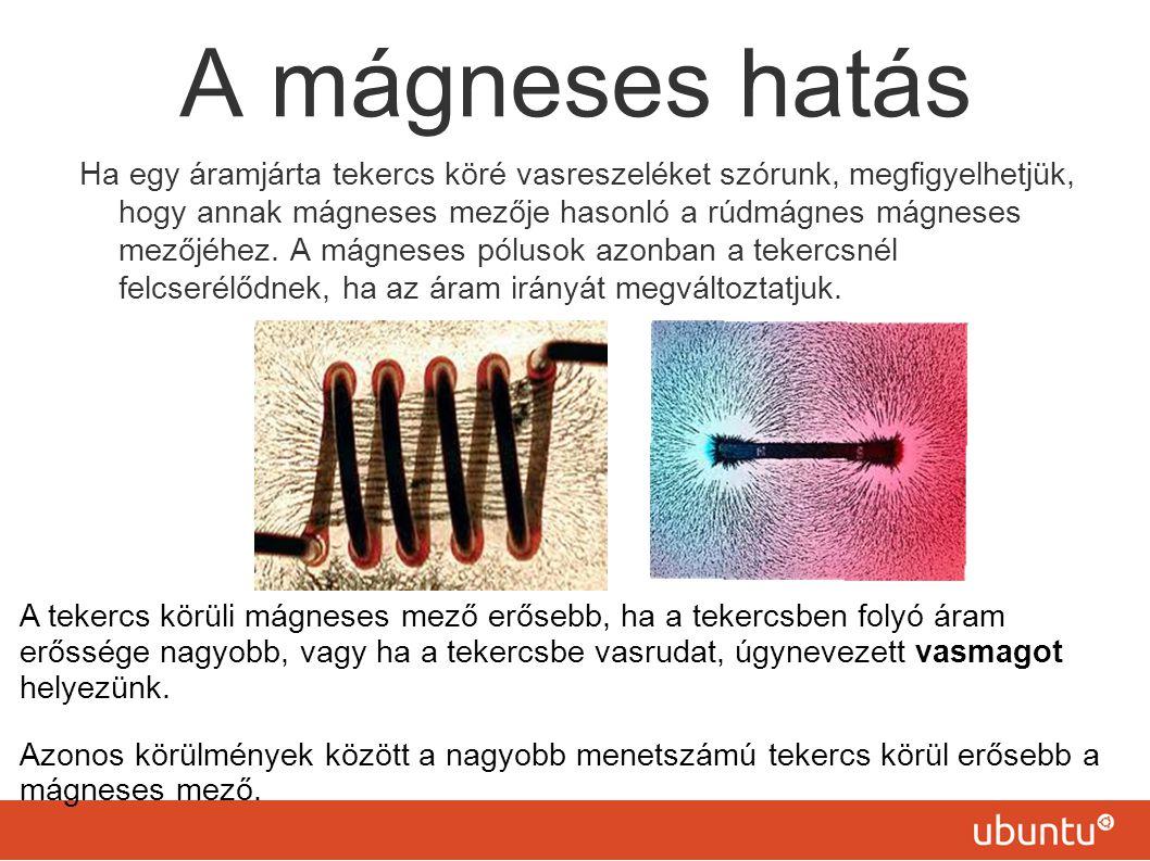 A mágneses hatás Ha egy áramjárta tekercs köré vasreszeléket szórunk, megfigyelhetjük, hogy annak mágneses mezője hasonló a rúdmágnes mágneses mezőjéhez.