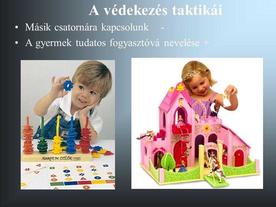A védekezés taktikái •Másik csatornára kapcsolunk - •A gyermek tudatos fogyasztóvá nevelése +