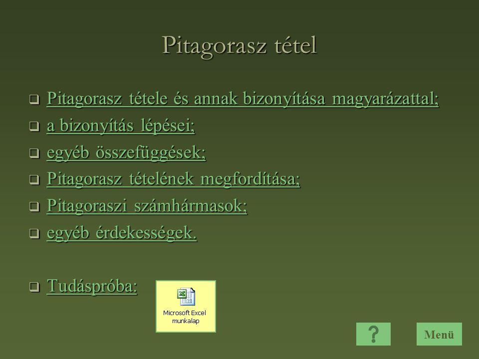 Pitagorasz tétel  Pitagorasz tétele és annak bizonyítása magyarázattal; Pitagorasz tétele és annak bizonyítása magyarázattal; Pitagorasz tétele és annak bizonyítása magyarázattal;  a bizonyítás lépései; a bizonyítás lépései; a bizonyítás lépései;  egyéb összefüggések; egyéb összefüggések; egyéb összefüggések;  Pitagorasz tételének megfordítása; Pitagorasz tételének megfordítása; Pitagorasz tételének megfordítása;  Pitagoraszi számhármasok; Pitagoraszi számhármasok; Pitagoraszi számhármasok;  egyéb érdekességek.