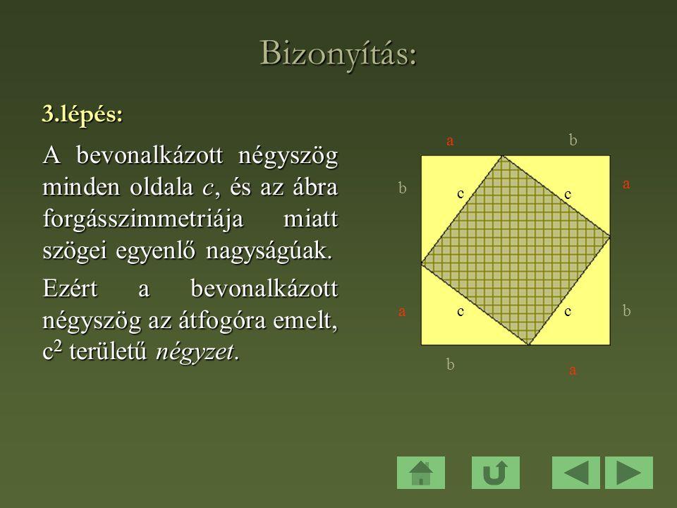 Bizonyítás: 3.lépés: A bevonalkázott négyszög minden oldala c, és az ábra forgásszimmetriája miatt szögei egyenlő nagyságúak.