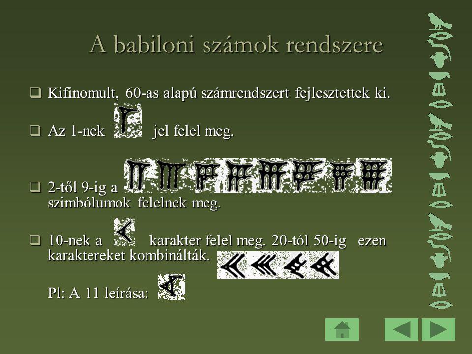 A babiloni számok rendszere  Kifinomult, 60-as alapú számrendszert fejlesztettek ki.