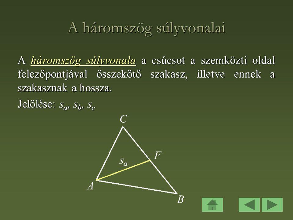 A háromszög súlyvonalai A háromszög súlyvonala a csúcsot a szemközti oldal felezőpontjával összekötő szakasz, illetve ennek a szakasznak a hossza.