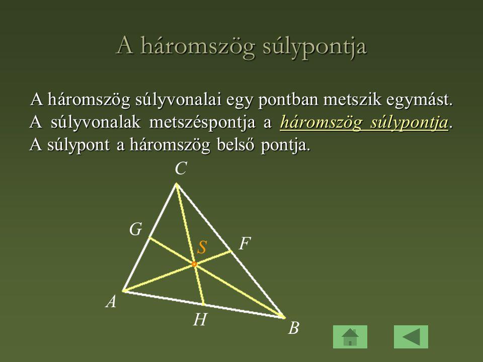 A háromszög súlypontja A háromszög súlyvonalai egy pontban metszik egymást.