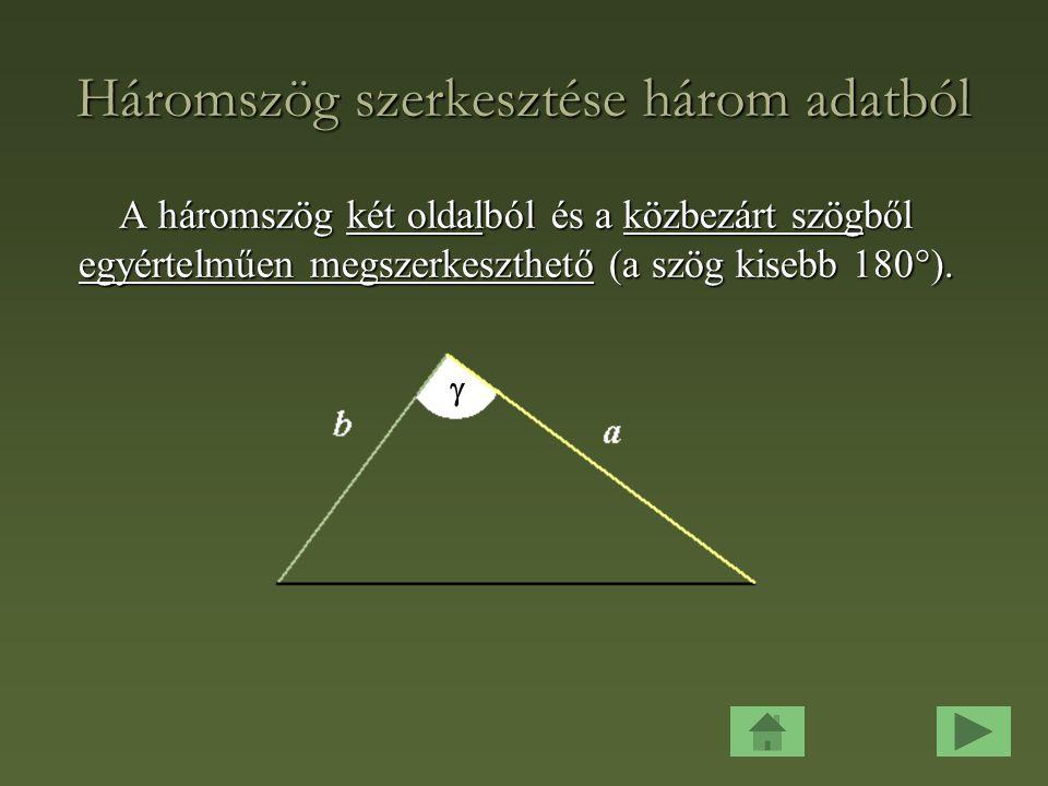 Háromszög szerkesztése három adatból A háromszög három oldalból egyértelműen megszerkeszthető (ha az oldalakra fennáll a háromszög-egyenlőtlenség).
