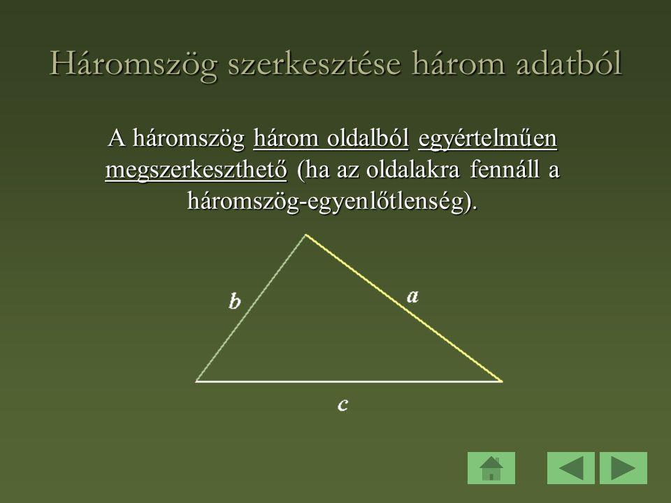 Pitagorasz tételének megfordítása: Ha egy háromszög a, b, c oldalai megfelelnek a Pitagorasz-féle feltételnek: c 2 = a 2 + b 2, akkor a háromszög derékszögű.