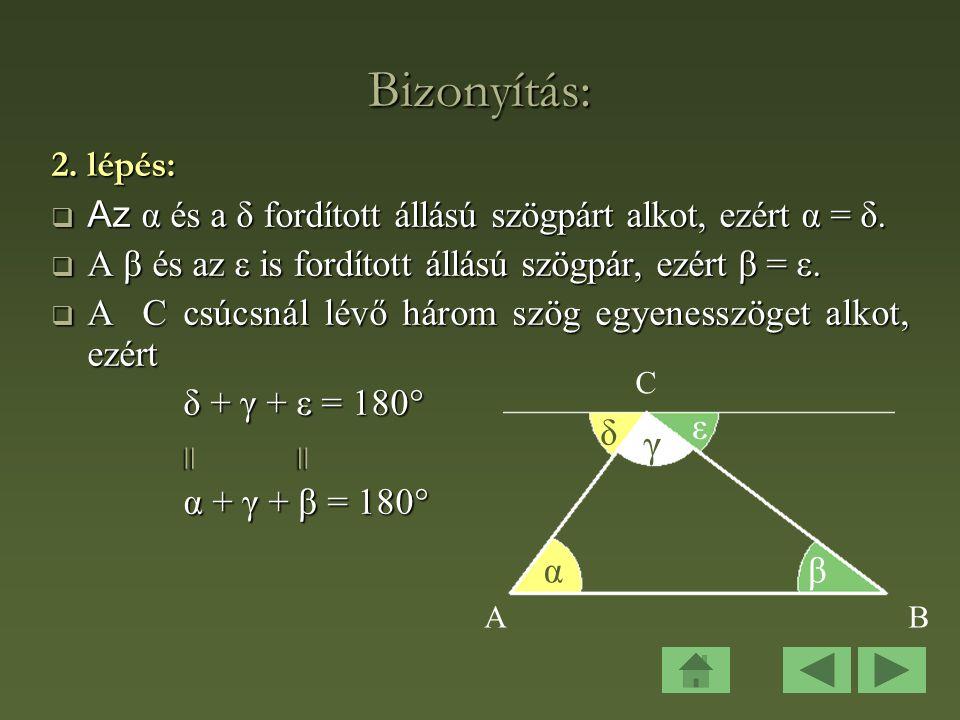 Bizonyítás: 2.lépés:  Az α és a δ fordított állású szögpárt alkot, ezért α = δ.
