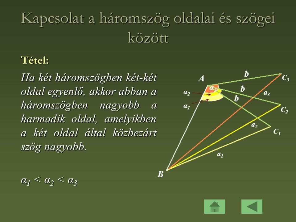 Kapcsolat a háromszög oldalai és szögei között Tétel: Ha két háromszögben két-két oldal egyenlő, akkor abban a háromszögben nagyobb a harmadik oldal, amelyikben a két oldal által közbezárt szög nagyobb.